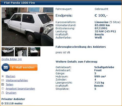 Autoscout24 Anzeige